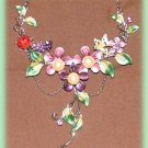 Purple Crystals Floral Necklace Earring Set Ladybug & Butterfly New