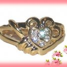 Heart Dinner Fashion Ring Crystals Size 8 Gold Plate New