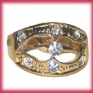 Dinner Fashion Ring Crystal double Hearts CZs Size 8 Gold Plate New