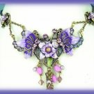 Goth Purple Pink Crystals Floral Victorian Necklace Earring Set New
