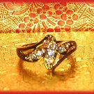 Modern Dinner Fashion Ring Crystals Size 8 Gold Plate New