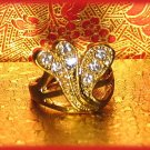 Dinner Fashion Ring Crystal Flair CZs Size 8 Gold Plate New
