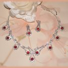 Petite Red & Clear  Austrian Rhinestone Crystals Necklace & Earring Set New