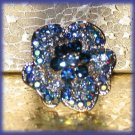 Blue Austrian Crystals Floral Fantasy Party Cocktail Ring Size Adj. New