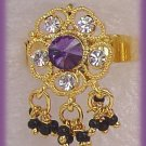 Ladies Exotic Ring Gold & Purple Amethyst Color E. India Greek Gypsy New