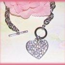Charm Bracelet Valentine Sweet Heart CZs, Silver Rhodium New
