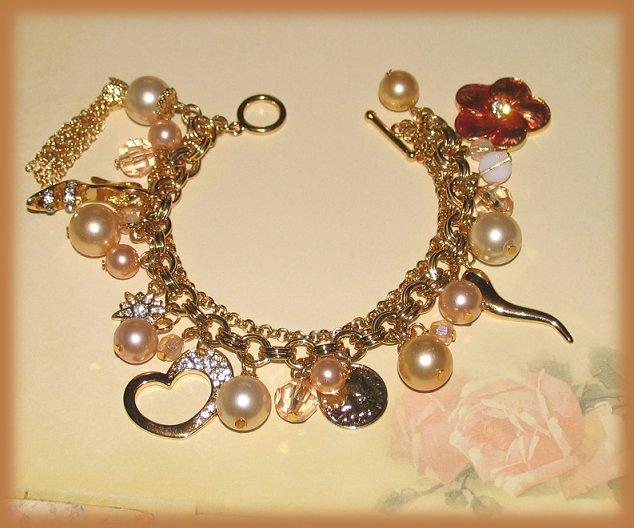 Fashion Diva Faux Pearl Charm Bracelet High Heel Shoe,Coin,Heart,Flower New