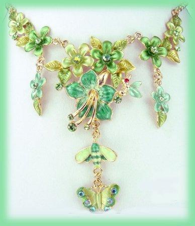 Emerald Green Floral Necklace Drop Earrings Set Honeybee Butterfly New