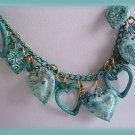 Vintage Marbled Turquoise Dangle Heart & Bead Necklace Used