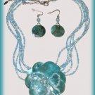 Necklace Earring Set Aqua Blue & Cream Shells & Beads Flower Theme New
