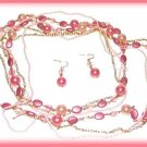 3 Strand Necklace 43 Inch with Earrings Rose, Pink, Ivory Faux Pearls &  Beads New