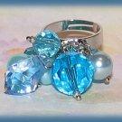 Casual Fun Aqua Beaded Dangles Fashion Ring Silver Tone Size Adjustable New