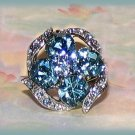 Fantasy Cocktail Ring Sparkling Aqua Blue Flower & Ribbons Crystals Large Silver Tone Size adj. New