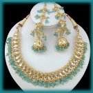 22k Gold E. India, Greek, Egyptian Necklace. Chandelier Earring Set Clear Crystals Aqua Beads
