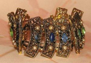 Vintage Panel Bracelet Faux Lapis, Emerald Green, & Amber Color Rhinestones & Beads, & Faux Pearls