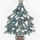 Vintage Pin Brooch Sparkling Blue Christmas Tree