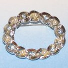 Gerry's Vintage Wreath Pin Brooch faux Pearls & Sparkling Blue Crystals
