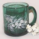 Winter Christmas Green Glass Cup Mug Seasonal Pine Cones Gift new