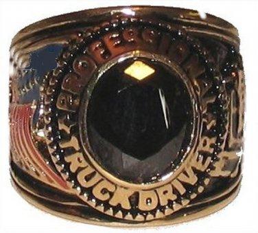 Mens Trucker Truck Driver Ring Black CZ YGP Size 9 New