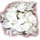 White Floral Silk Bouquet of Lilies & Roses, Hand Held, Round New