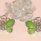 Kids Child Mini Hair Clamps Set of 2 Green Stones Butterflies Silver tone New