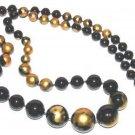 Vintage Black Lacquer Bead Necklace HP Gold Color Flowers
