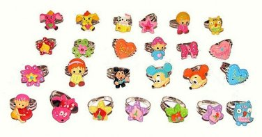Lot of 25 Cartoon Rings Asst. Mice, Flowers, Kids, Animals, Stars, More