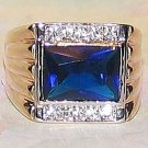 Mens Dark Blue Solitaire CZ Ring w/ Clear Side CZs GEP Size 11