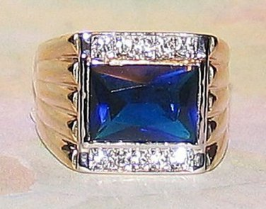 Mens Dark Blue Solitaire CZ Ring w/ Clear Side CZs GEP Size 14