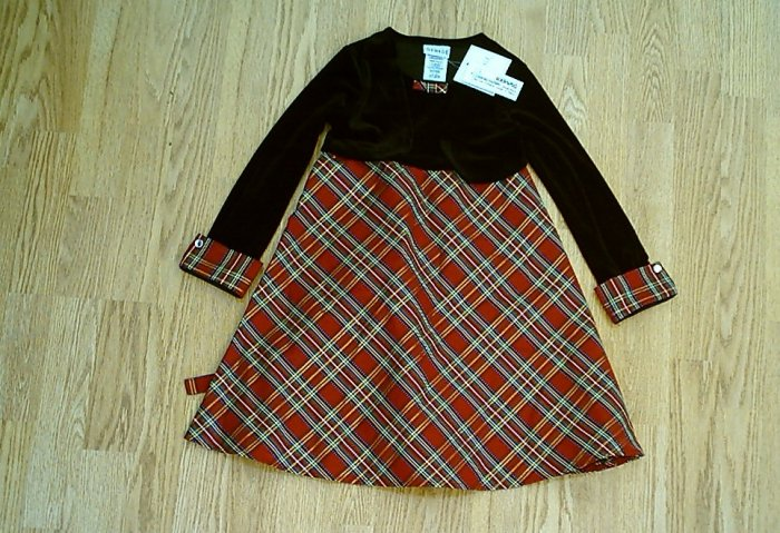 GEORGE CHRISTMAS GIRLS DRESS LONG SLEEVES-SIZE 5-NWT