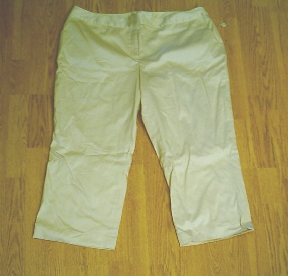 WORTHINGTON MARILYN FIT KHAKI CAPRI CROP PANTS-22 W-NWT