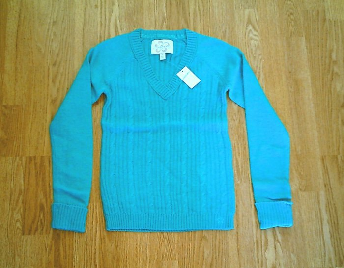 LIMITED TOO JEANS GIRLS TEEL GREEN SWEATER-SIZE 14-NWT