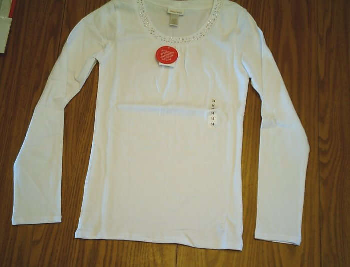 LIMITED TOO JEANS GIRLS WHITE SHIRT TOP-SIZE 14-NWT NEW