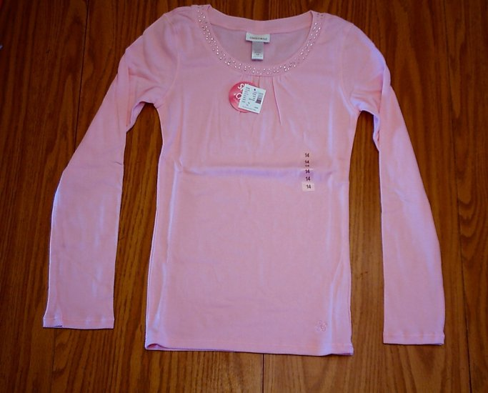 LIMITED TOO JEANS GIRLS PINK SHIRT TOP-SIZE 14-NWT NEW