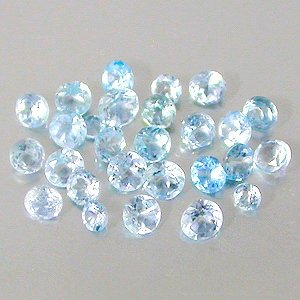 Natural Blue Topaz gems 1.5mm round cut stones $2.00 each