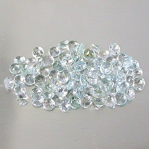 Natural 2.5mm round cut Aquamarine gems eye clean light blue $0.50 each