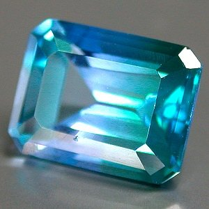 3.0 Ct. Bi Color Topaz Octagon cut gem 9 x 7mm Blue And Green