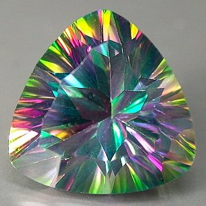 6 Ct.  Mystic fire Topaz 11mm Trilliant Concave Cut gem eye clean