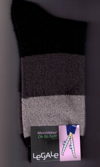 LeGale  Micro Velour Sock - Wide Stripe-Black-Greys