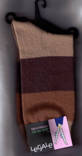 LeGale Micro Velour Sock - Wide Stripe-Browns