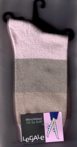 LeGale Micro Velour Sock - Wide Stripe-Pink-Grey-Tan