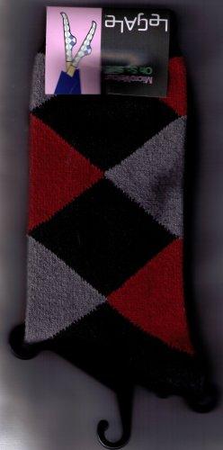 LeGale Argyle Micro Fiber Velour Sock - Black-Red-Grey