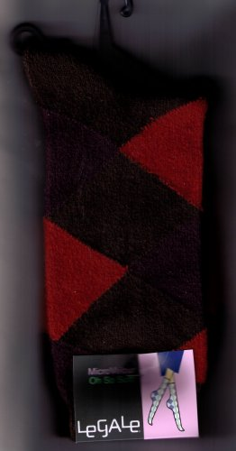 LeGale Argyle Micro Fiber Velour Sock - Orange-Purple-Brown