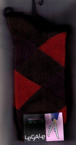 LeGale Argyle Micro Fiber Velour Sock - Orange-Purple-Brown