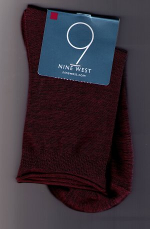 Nine West City Red  Heather Jean Sock -Rolled Edge