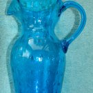 Fabulous Blue Bubble Glass Pitcher