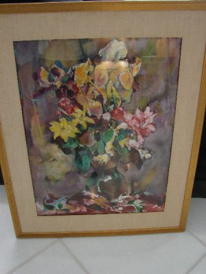 SIGNED Still life Watercolor Painting by JE Costigan
