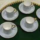 Royal Albert -Gossamer Demitasse Cups/Saucers & 1 Snack Plate, Blue