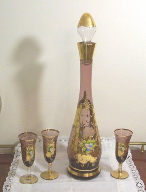 Bohemian Glass Decanter & Glasses w/Gold Gilt & Flowers