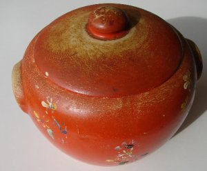 Antique Hand painted Pottery Bean Pot w/Lid